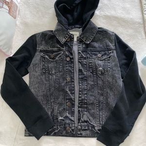 Sweater jean jacket with hood